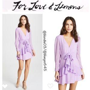 For Love & Lemons Tarta Long Sleeve Mini Dress L